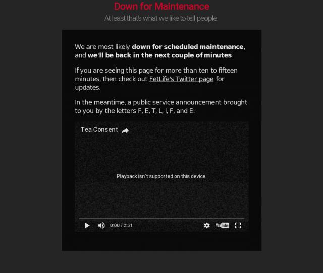 Fetlife Outage Screenshot Taken On  125140