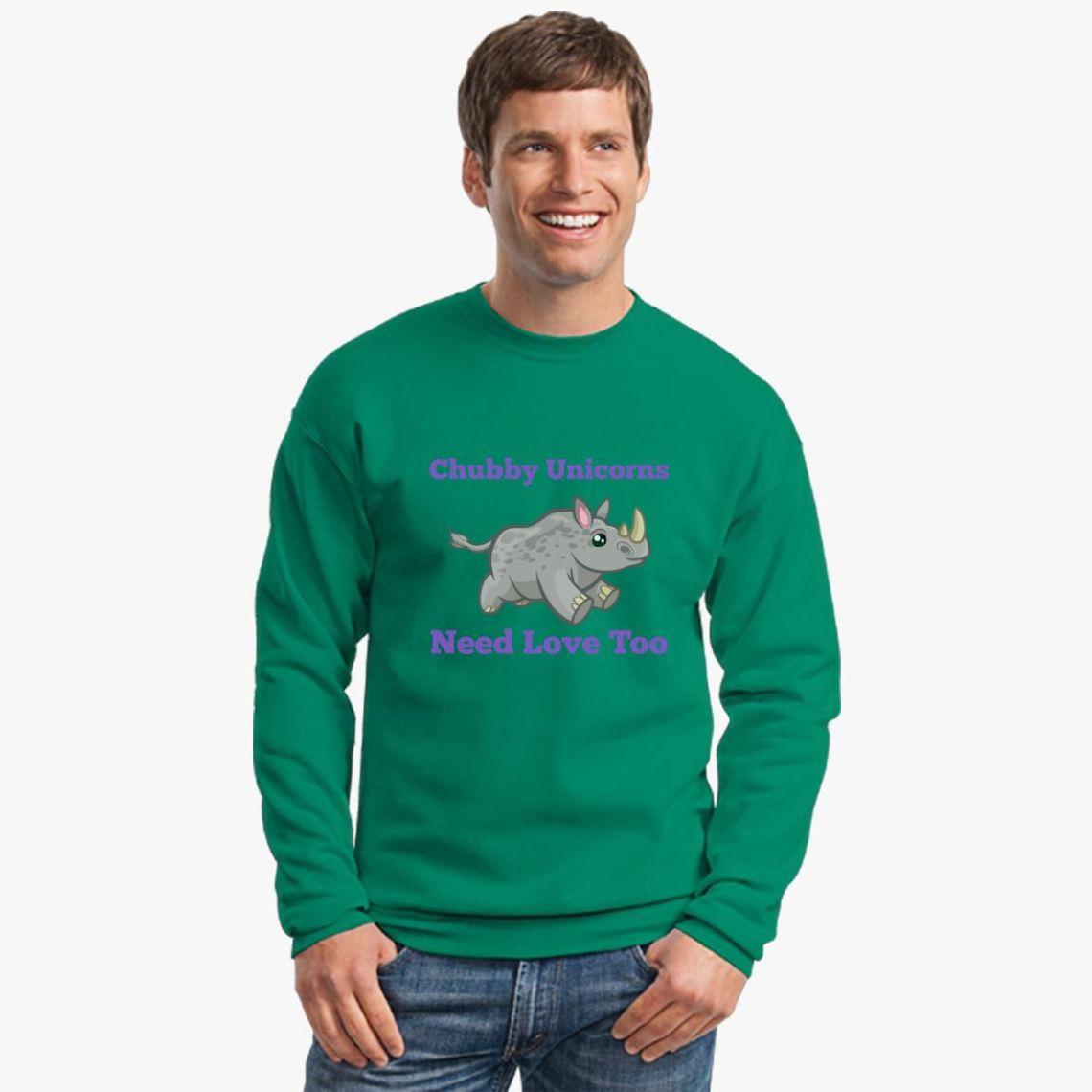 Download Chubby Unicorns Need Love Too Crewneck Sweatshirt - Customon
