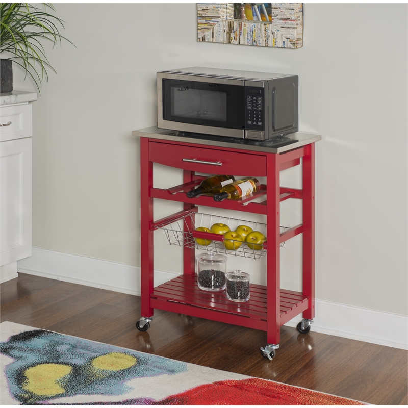 linon raven wood stainless steel top kitchen cart in red