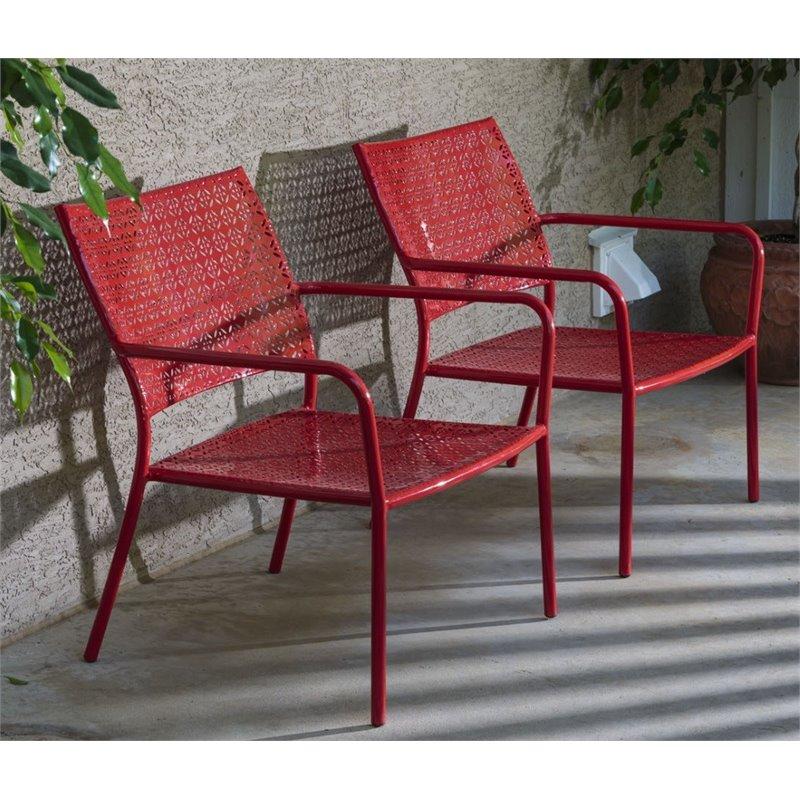 alfresco home martini low profile patio chair in cherry pie set of 2