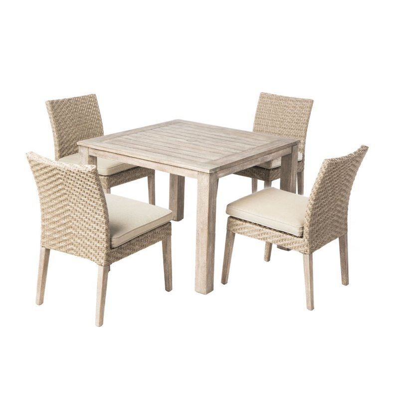 alfresco home cornwall 5 piece woven wood patio dining set