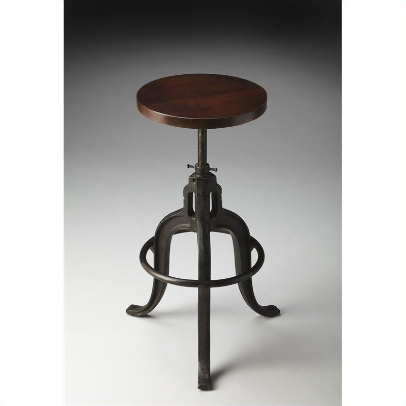 Butler Specialty Industrial Chic Bar Stool With Dark Brown