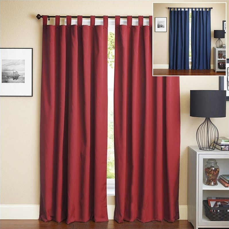 blazing needles 108 inch twill curtain panels in navy blue and ruby red set of 2