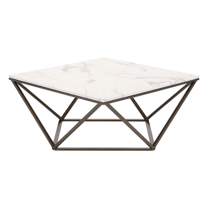 zuo tintern faux marble top coffee table in stone and antique brass