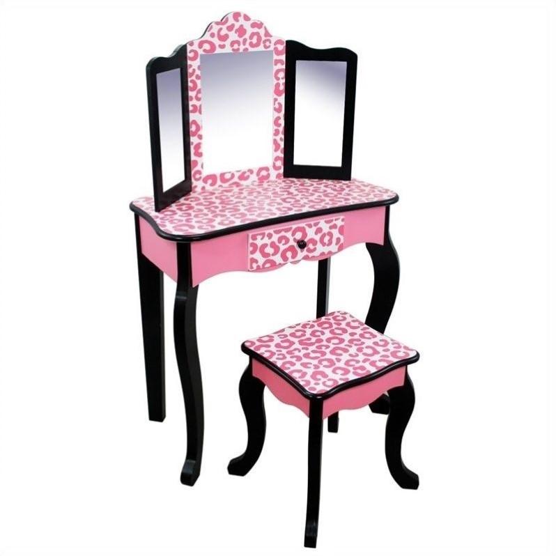 teamson kids vanity table and stool set in black and pink leopard