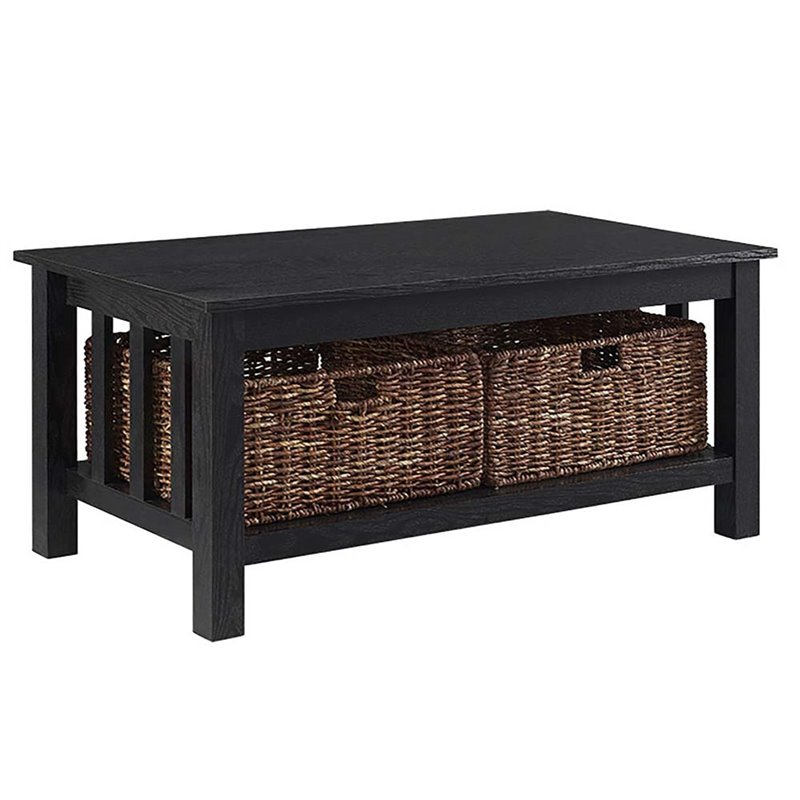 40 wood storage coffee table in black with baskets
