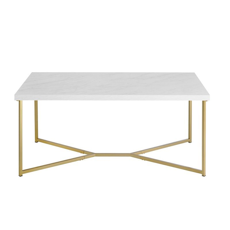 rectangle coffee table with white faux marble top and gold base