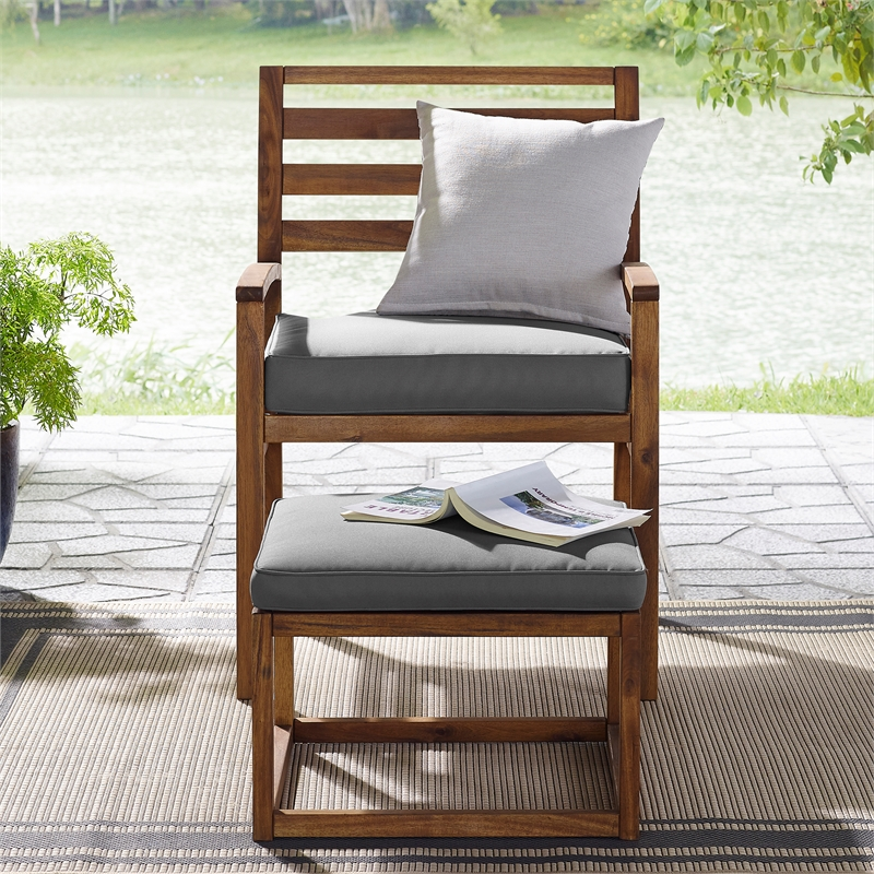 acacia wood outdoor patio chair pull out ottoman brown