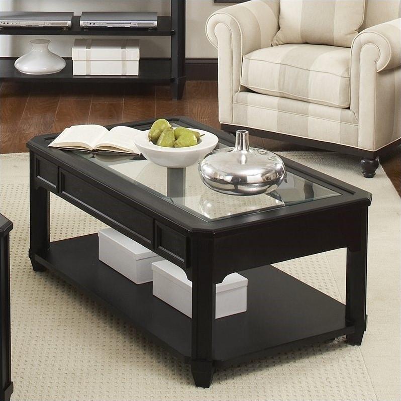 riverside furniture farrington glass top rectangular cocktail table in black forrest birch