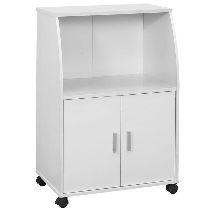 monarch 2 door storage kitchen microwave cart on castor in white