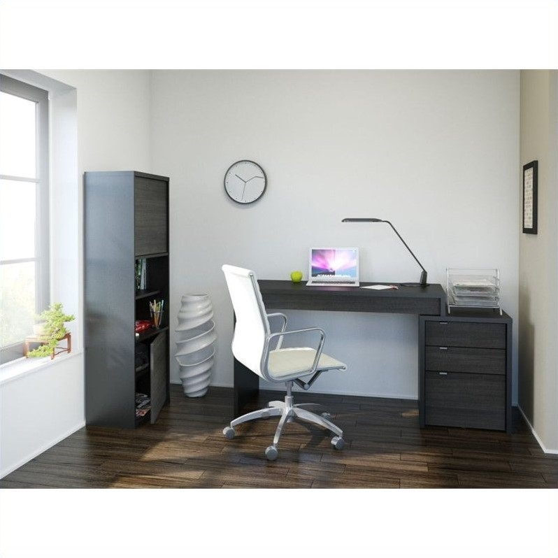 Nexera Sereni-T 3 Piece Office Set in Black and Ebony with Bookcase