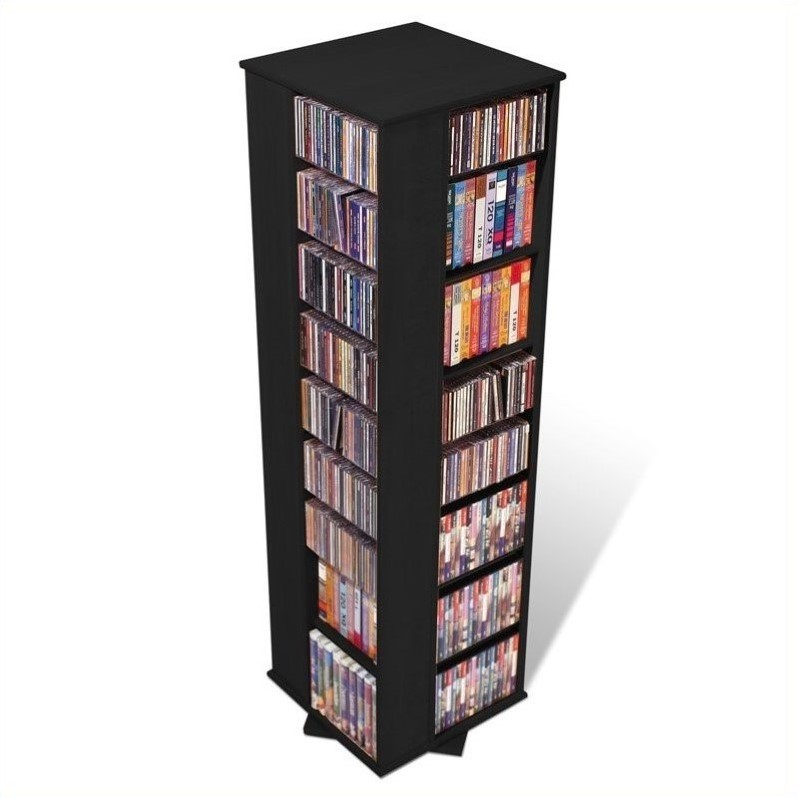 64 4 Sided CD DVD Spinning Media Storage Tower In Black