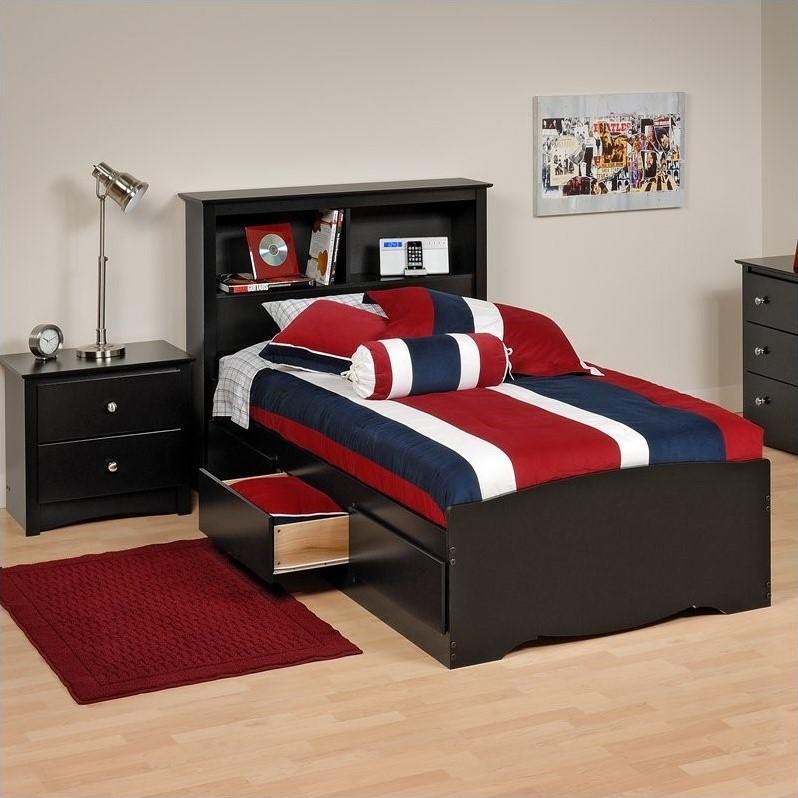 Black Twin Platform Storage Bed With Drawers Bbt 4100 2k