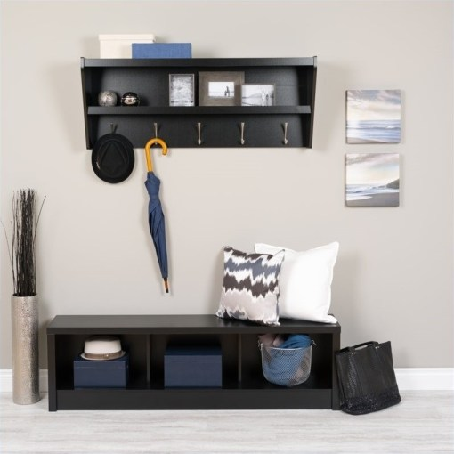 Floating Entryway Shelf with Bench in Black   BUXX 0500 1 PKG Floating Entryway Shelf with Bench in Black