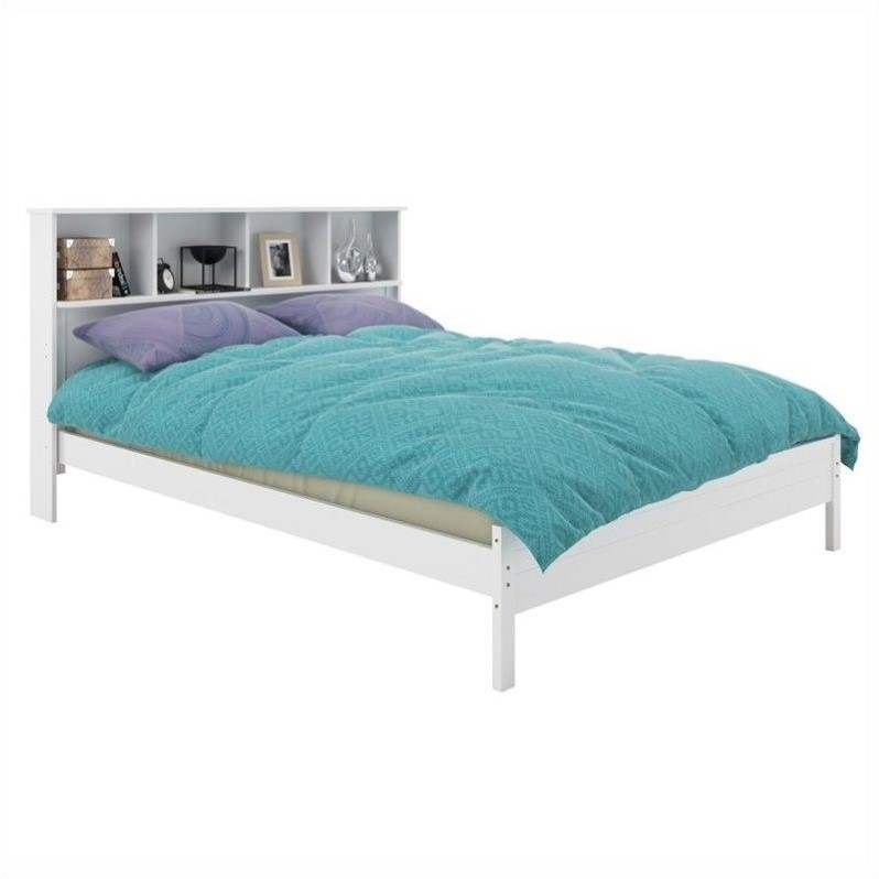Full Double Bed With Bookcase Headboard In White BAF 510 D