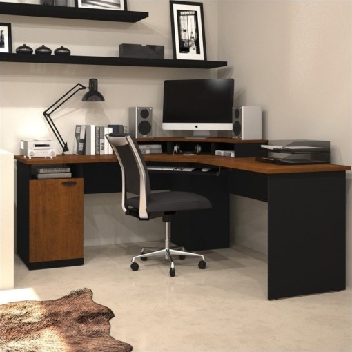 Bestar Hampton Wood Home Office Corner Computer Desk in Tuscany     Bestar Hampton Wood Home Office Corner Computer Desk in Tuscany Brown