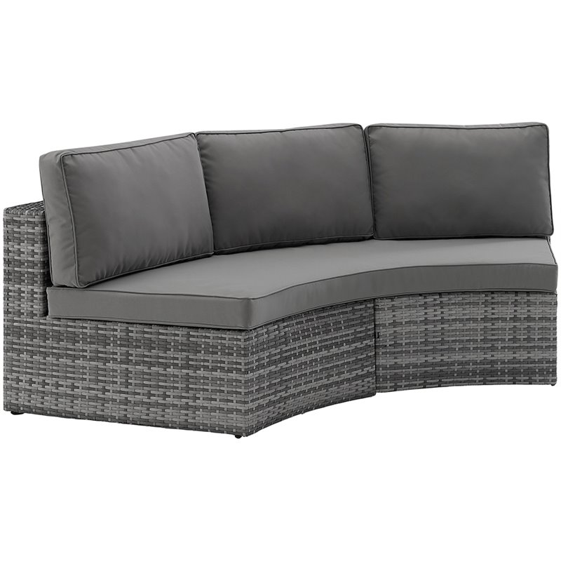 crosley catalina outdoor wicker curved patio sectional sofa in gray