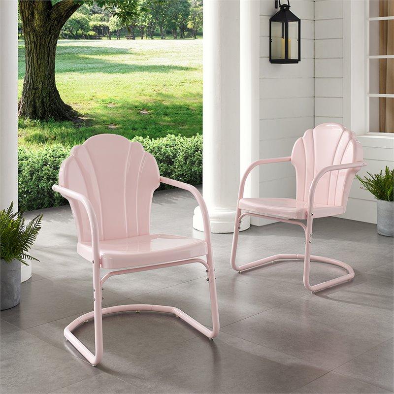 crosley tulip metal patio chair in pink set of 2