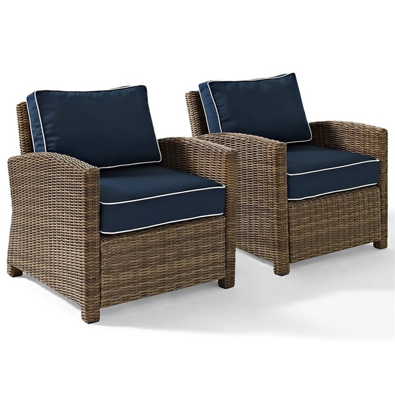 crosley bradenton wicker patio chair in brown and navy set of 2