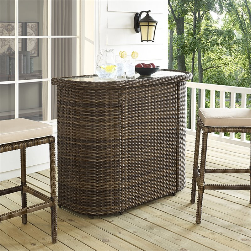 Never rust outdoor aluminum sling chaise lounge in brown. Crosley Bradenton Outdoor Wicker Bar in Brown - CO7221-WB
