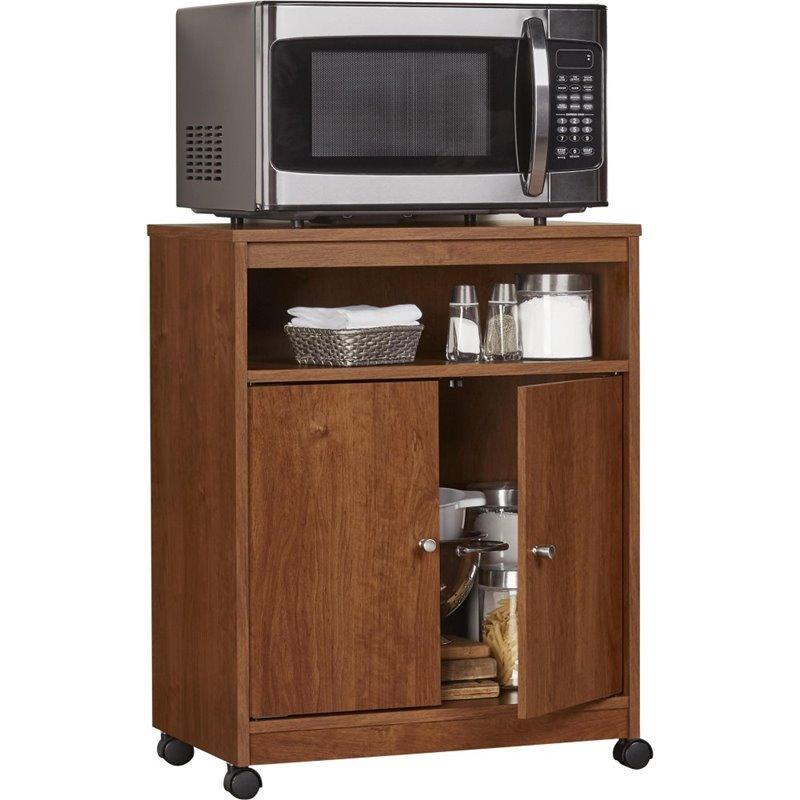 altra furniture landry microwave cart in bank alder