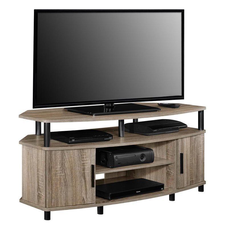 50 Corner TV Stand In Distressed Gray Oak 1797296COM