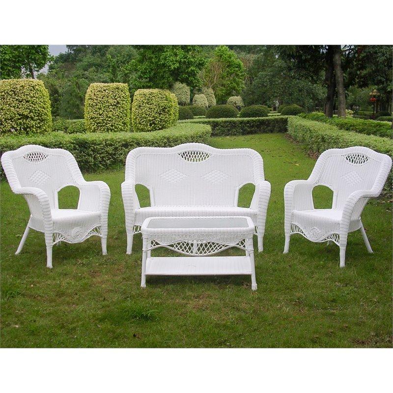 4 Piece Wicker Patio Sofa Set In White 3194 WT