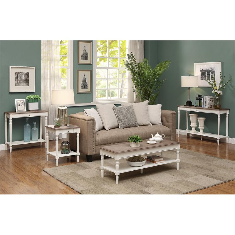 convenience concepts french country coffee table in driftwood and white wood
