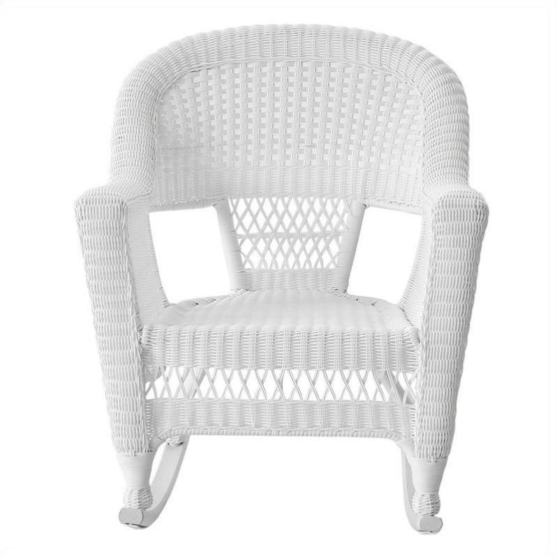 jeco resin wicker patio rocker in white set of 2