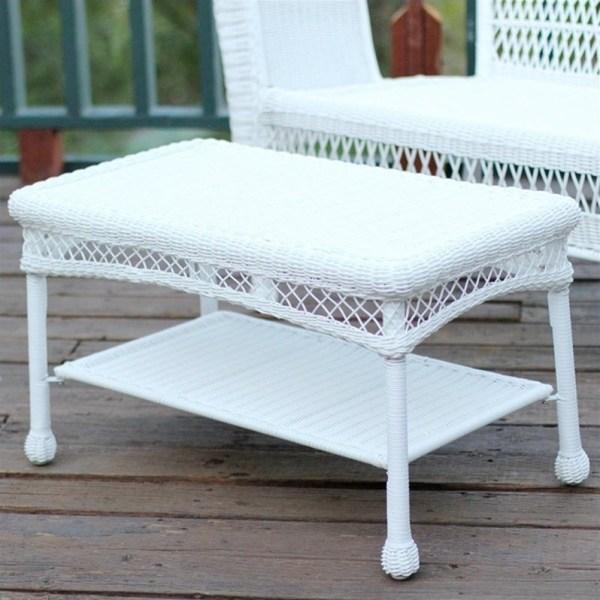 white wicker patio furniture Jeco Wicker Patio Furniture White Outdoor Coffee Table | eBay
