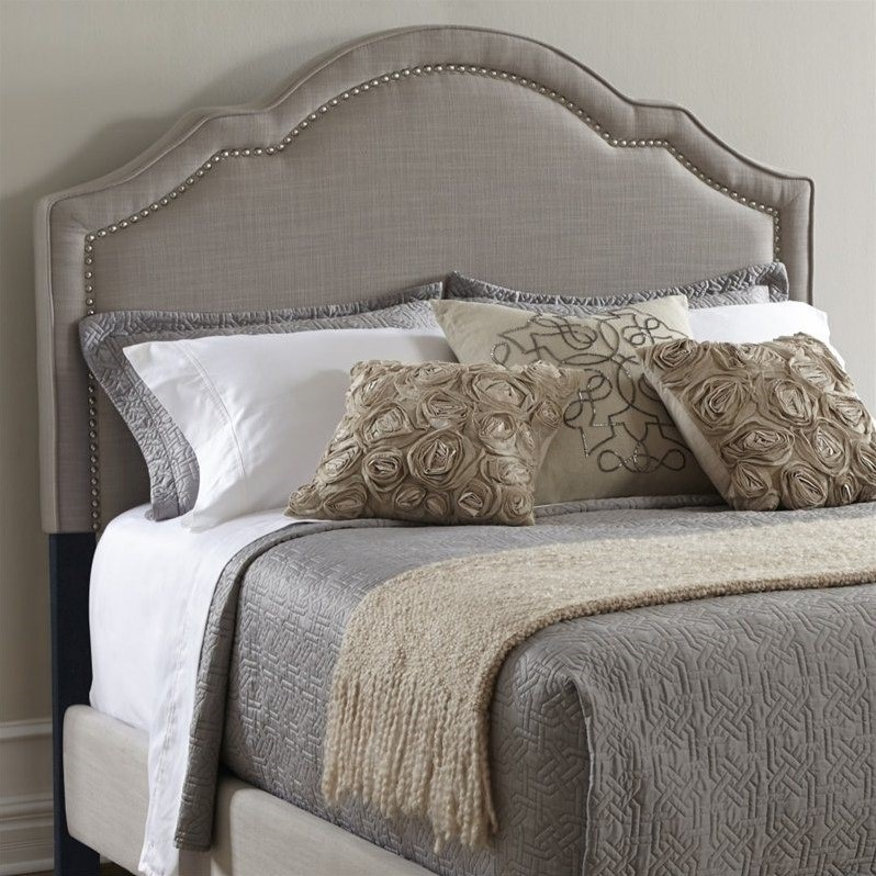 PRI Upholstered Nailhead King Headboard In Taupe DS 2286 270