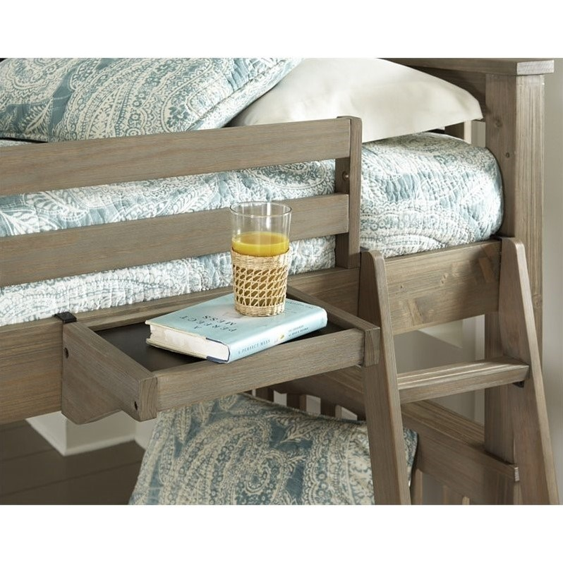 ne kids highlands twin loft bed with hanging shelf in driftwood