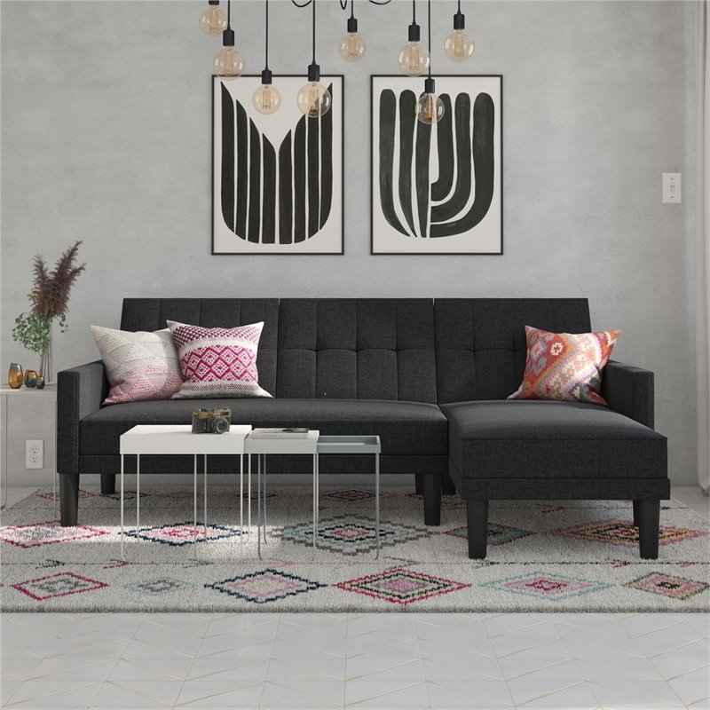 dhp haven small space sectional sofa futon in dark gray linen