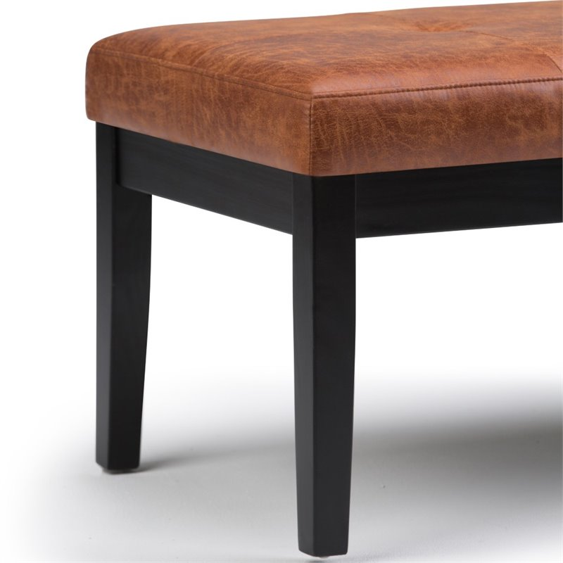 simpli home lacey faux leather tufted ottoman bench in saddle brown