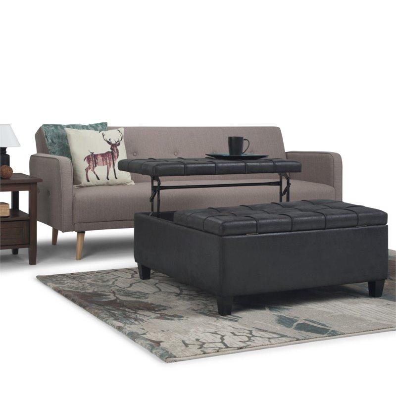 simpli home harrison faux leather coffee table ottoman in black