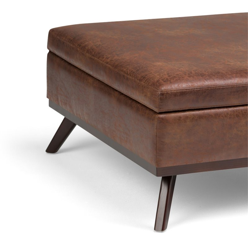 simpli home owen faux air leather square coffee table ottoman in saddle brown