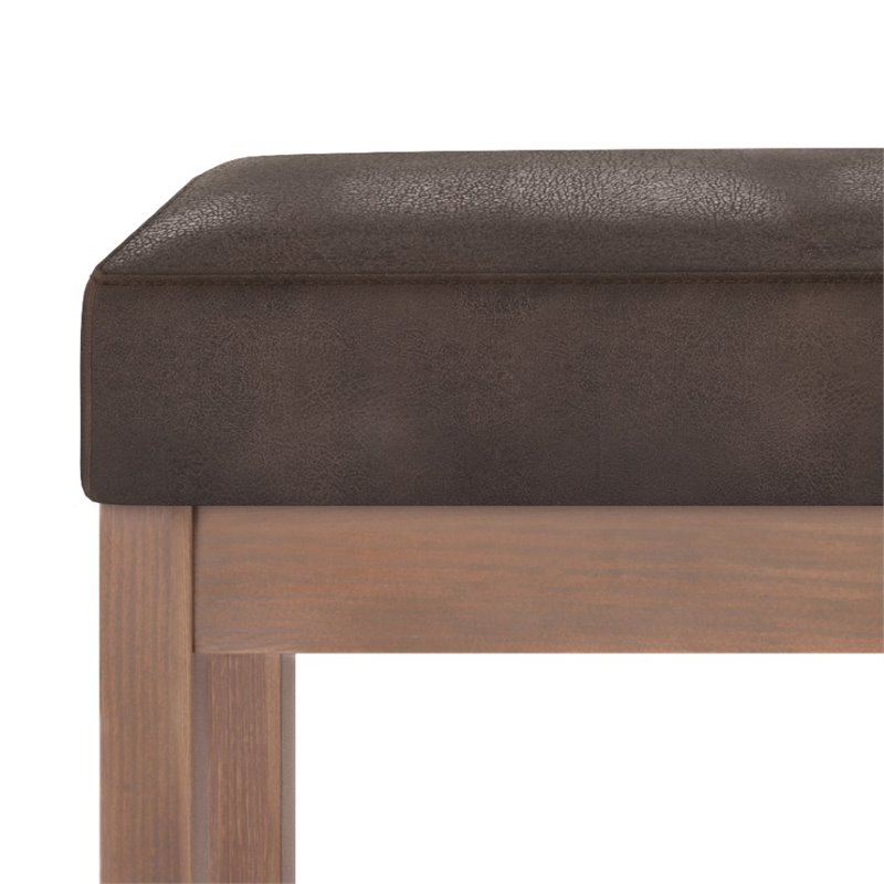 simpli home milltown faux leather large ottoman bench in dark brown