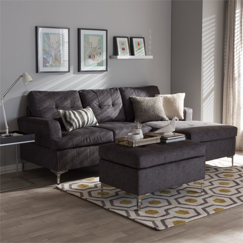 Riley Upholstered 3 Piece Sectional in Gray - R76032-Grey-SF on Riley 3 Piece Sectional Charleston id=59108