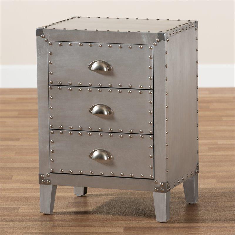 baxton studio claude silver metal 3 drawer nightstand