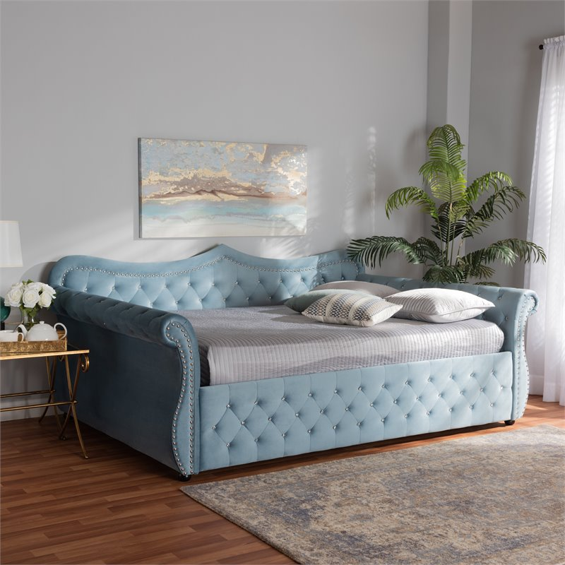baxton studio abbie light blue velvet and crystal tufted full size wood daybed
