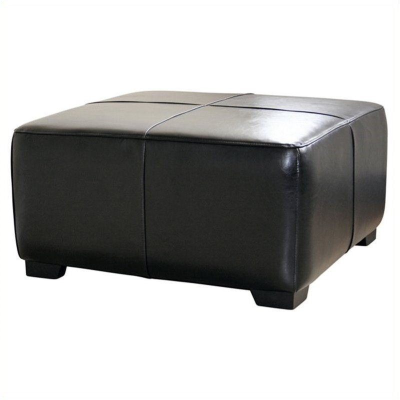 square leather ottoman footstool in black