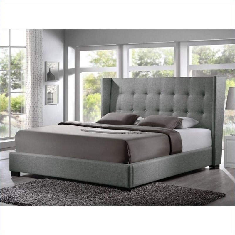 Favela Platform Bed with Upholstered Headboard in grey   BBT6386 XXX     Favela Platform Bed with Upholstered Headboard in grey