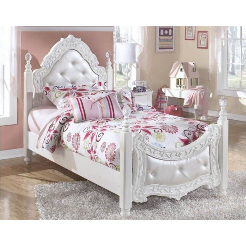 details about signature design by ashley furniture exquisite padded poster bed in white
