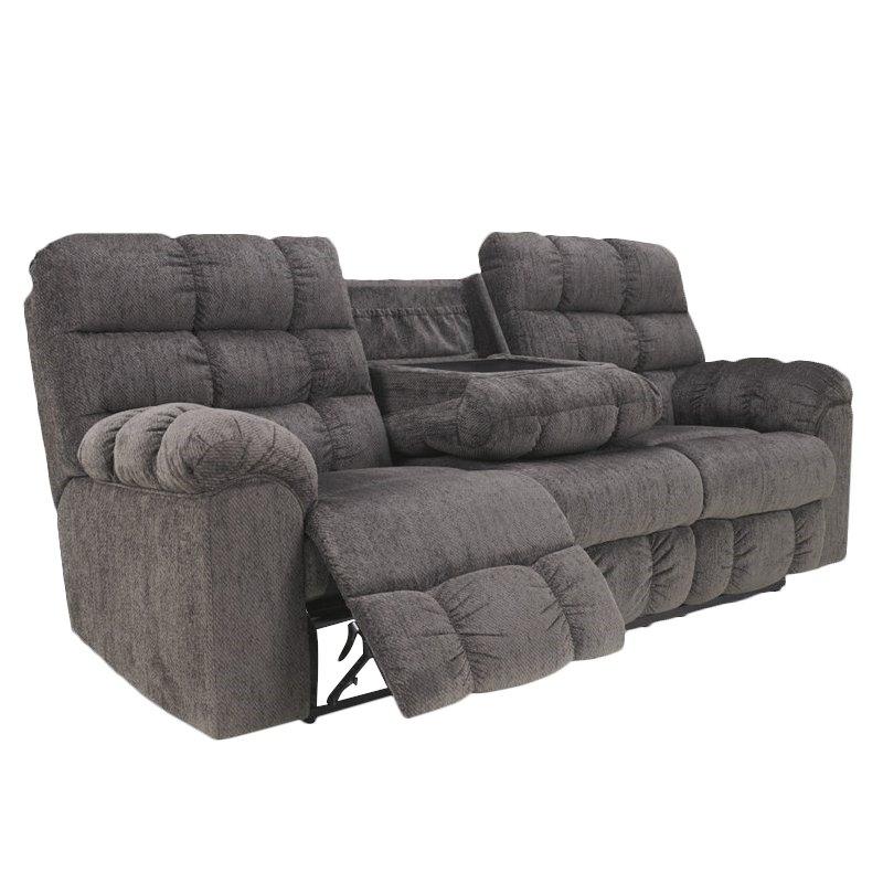 ashley furniture acieona microfiber reclining sofa in slate