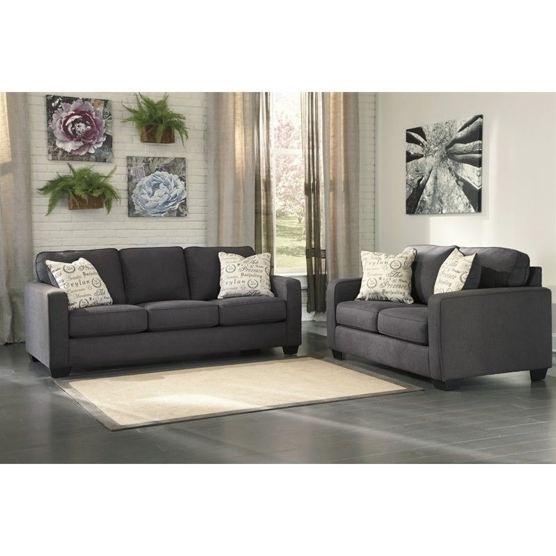signature design by ashley 2 piece sofa set in charcoal