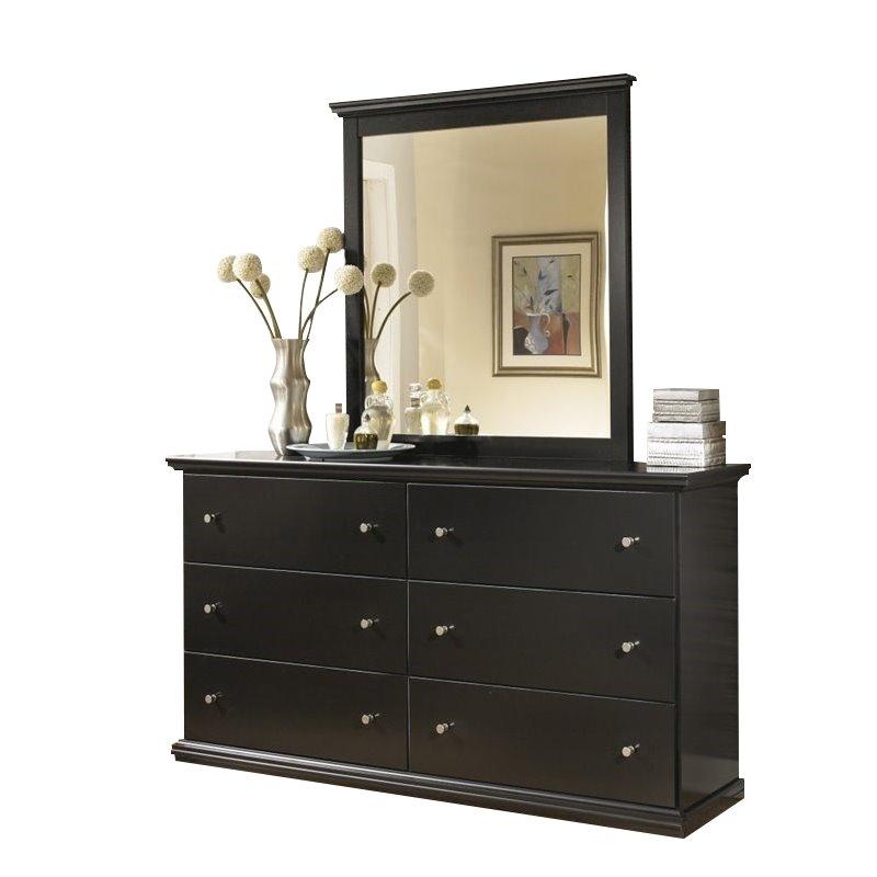 ashley furniture maribel 2 piece wood dresser set in black