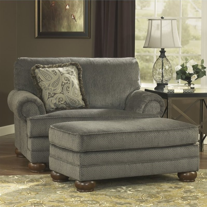 Ashley Parcal Estates Fabric Oversized Chair With Ottoman