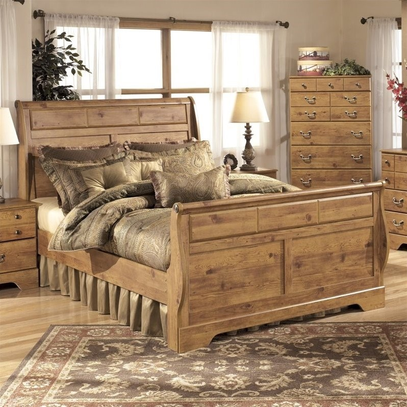 Only 8 left in stock (more on the way). Ashley Bittersweet Wood King Sleigh Bed in Light Brown