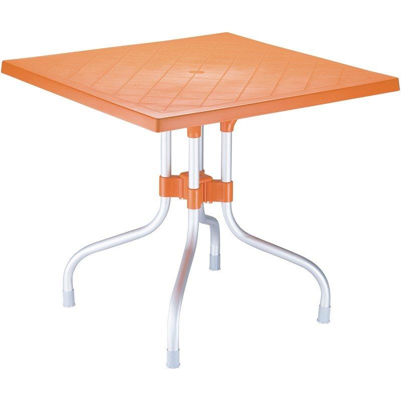 compamia forza 31 square folding patio dining table in orange