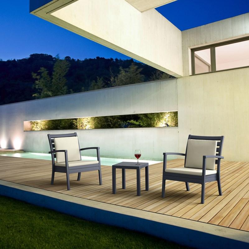 compamia ocean square resin patio side table in dark gray